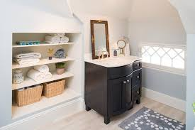 Built In Shelves In Bathroom Built In Shelves In Bathroom Bathroom Traditional With Light Blue