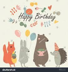 birthday card cute squirrel bunny bear stock vector 512207632