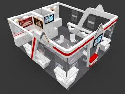 exhibition stall 3d model 7x6 mtr 3 sides open automationwale 3d