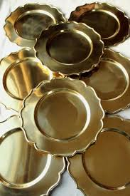 heavy solid brass chargers vintage set of 8 gold charger