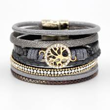 clasp bangle bracelet images Multi layer leather rope rhinestone alloy accessories magnet clasp jpg