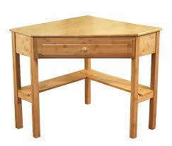 furniture small oak corner table with single drawer and shelf