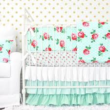 Gold Polka Dot Bedding Lucy U0027s Mint Rose Baby Bedding Caden Lane