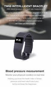 tw68 blood pressure rate monitoring smart bracelet