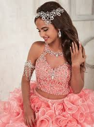 coral pink quinceanera dresses buy two gown keyhole coral organza beaded