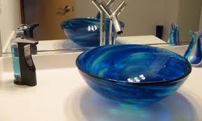 blue glass vessel sink installation blue water vessel sinks gallery