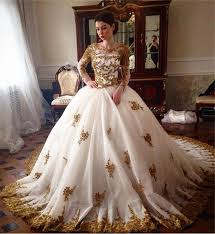 luxury wedding dresses luxury wedding dress 2018 scoop sleeve gold lace beading