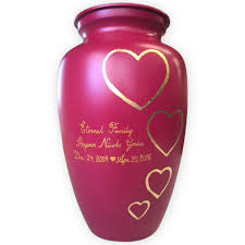 memorial urns piecing perfection together pink custom memorial urn with gold hearts