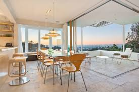bar height glass table los angeles modern recessed lighting dining room contemporary with