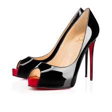 christian louboutin new very prive patent leather black red