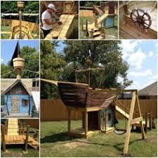 Pirate Ship Backyard Playset by Amish Made 8x20 Ft Wooden Play Ship Playground Set Playground
