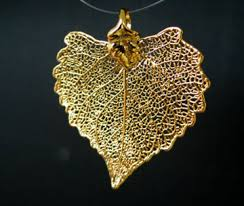 dipped in gold 24k gold dipped cottonwood leaf pendant