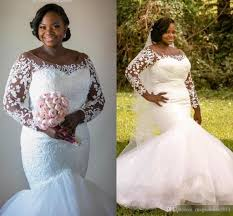 2017 plus size mermaid wedding dresses with illusion long sleeves