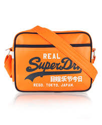alumni bags mens mash up mini alumni bag in fluro orange superdry