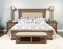 Beige Upholstered Bed Furniture Brown Stained Solid Wood Kingsize Bed With Beige
