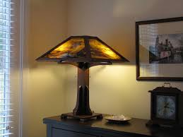 arts and crafts style walnut table lamp by j curtis goforth