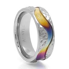 mens titanium rings 8mm spectrum rainbow band titanium jewelry mens titanium rings