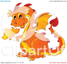 vector cartoon of a orange fire breathing dragon royalty free