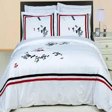 hotel black white red embroidered duvet cover set luxury linens