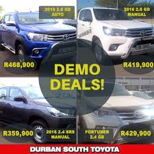 toyota demo cars for sale bakkie demo specials updated june 2016 durban south