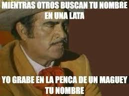Vicente Fernandez Memes - vicente fernandez mientras otros buscan tu nombre en una lata yo