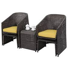 Outdoor Furniture Set 5 Pcs Rattan Wicker Chair Footstool Cushioned Outdoor Outdoor