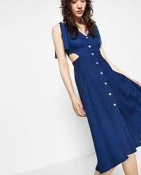 cut out dress zara blue new tags cut out linen denim style midi mid length