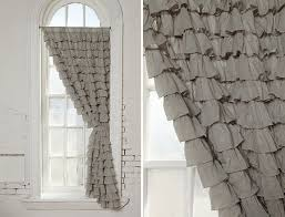 Grey Red Curtains Grey Ruffle Curtains 7836