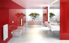 pretty kids red bathroom decor with pedestal washbasin also floral