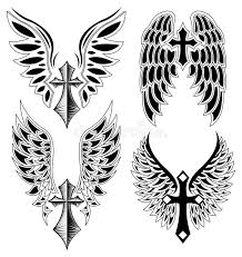 set of cross and wings elements vector stock vector