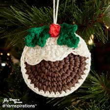 plum pudding crochet ornaments crochet pattern yarnspirations