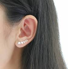 ear climber earrings silver five phases of moon ear climbers by attic