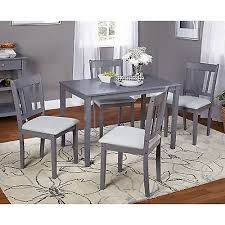 grey dinette set 5pc gray table chairs modern dining room kitchen
