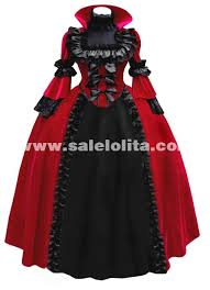 Red Witch Halloween Costume 2015 Blue Red Vintage Lace Gothic Victorian Period Dress