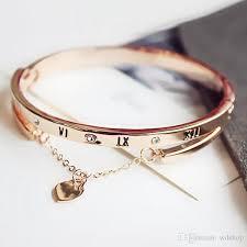 rose gold stainless steel bracelet images Luxury brand jewelry rose gold stainless steel roman digital jpg