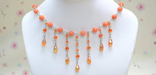 making necklace beads images Making a sparkling fringe choker necklace with orange glass beads jpg