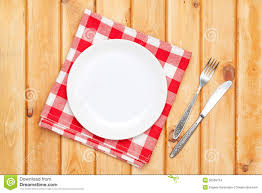 Wooden Kitchen Table Background Empty Plate Silverware And Towel Over Wooden Table Background