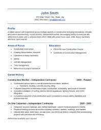 Resume Template For Construction Worker General Contractor Resume 14 Independent Contractor Resume Example
