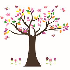 owl on flower tree tree butterfly 60 90cm wall sticker children