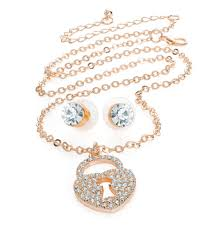 rose gold coloured necklace images Rose gold colour necklace set belindas handbags and accessories jpg