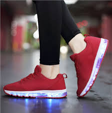 ladies light up shoes men s led light up air running shoes red white with usb charging sale
