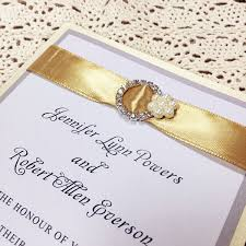 wedding invitations with ribbon modern gold ribbon pearl rhinestone buckle layered wedding