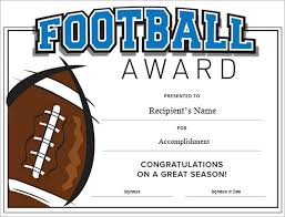 football certificate template printable football award