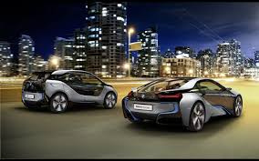 Bmw I8 Night - bmw i3 and i8 silver color riding on the night city backgrounds i3