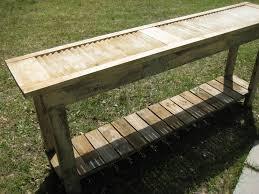 narrow sofa table made from old shutter window shutter door