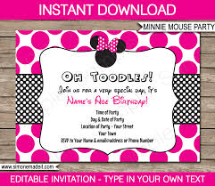birthday party invitations minnie mouse party invitations template birthday party