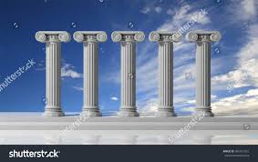 five ancient pillars blue sky background stock illustration