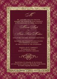 wedding invitation burgundy gold elegance monogram