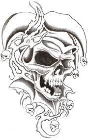 evil skull drawings 25 amazing jester designs