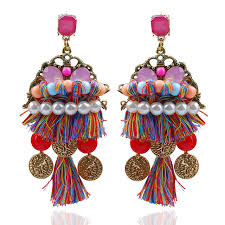 thread earrings ethnic boho earrings silk thread earrings with artificial
